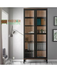 Roomers Display Cabinet Glazed 2 Doors in Black and Walnut at Price Crash Furniture. Matching items available.