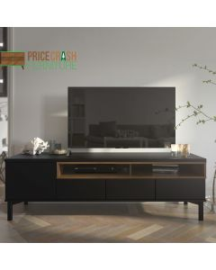 Roomers TV Unit 3 Drawers 1 Door In Black And Walnut