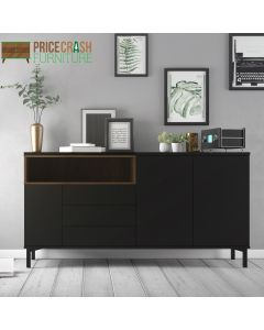 Roomers Sideboard 3 Drawers 3 Doors in Black and Walnut at Price Crash Furniture. Matching items available.