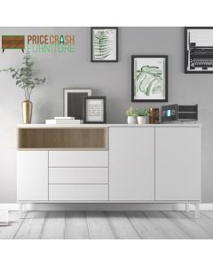 Roomers Sideboard 3 Drawers 3 Doors in White and Oak at Price Crash Furniture. Matching items available.