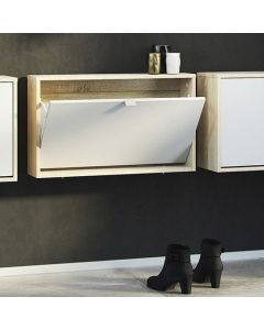 Shoe Cabinet: 1 compartment with 1 layer in Oak & White at Price Crash Furniture. Other sizes and colours available
