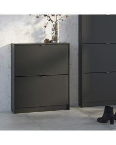 Shoe Cabinet: 2 compartments with 1 layer in Matte Black at Price Crash Furniture. Other sizes & colours also available