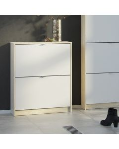 Shoe Cabinet: 2 compartments with 1 layer in Oak & White at Price Crash Furniture. Other sizes & colours also available