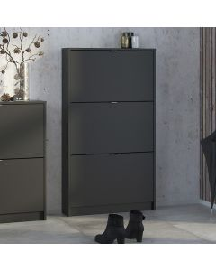 Shoe Cabinet: 3 compartments with 1 layer in Matt Black at Price Crash Furniture. Other colours & sizes also available