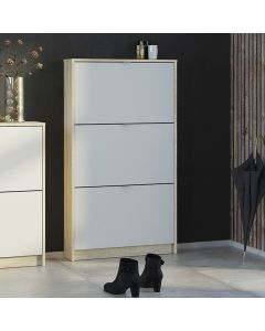 Shoes Shoe Cabinet w. 3 Tilting Doors And 1 Layer In Oak Structure White
