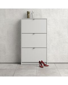 Shoe Cabinet: 3 compartments with 2 layers in White at Price Crash Furniture. Other sizes & colours also available