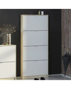 Shoes Shoe Cabinet w. 4 Tilting Doors And 1 Layer In Oak Structure White