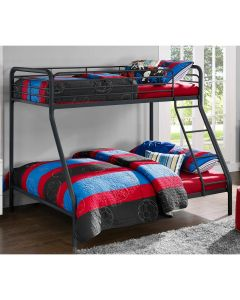 Single over Double Bunk Bed in Black Metal by Dorel at Price Crash Furniture. Also in Grey or White