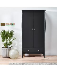 Steens Baroque 2 Door 1 Drawer Wardrobe in Black at Price Crash Furniture. Matching items available. Also available in Grey or White
