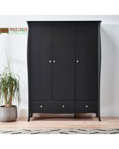 Steens Baroque 3 Door 2 Drawer Large Wardrobe in Black at Price Crash Furniture. Matching items available. Also available in Grey or White