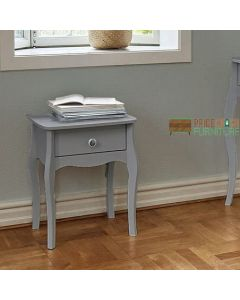Steens Baroque 1 Drawer Bedside Table Nightstand Cabinet in Grey at Price Crash Furniture. Matching items available. Also available in White or Black