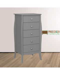 Steens Baroque Tall Narrow 5 Drawer Chest of Drawers in Grey at Price Crash Furniture. Matching items available. Also available in White or Black