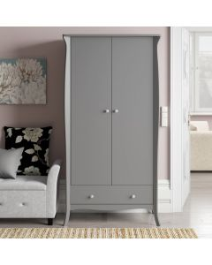 Steens Baroque 2 Door 1 Drawer Wardrobe in Grey at Price Crash Furniture. Matching items available. Also available in White or Black.