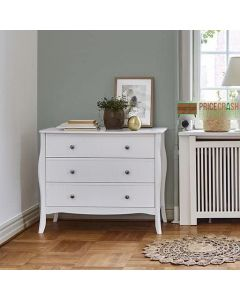 Steens Baroque 3 Drawer Chest of Drawers in White at Price Crash Furniture. Matching items available. Also available in Grey or Black