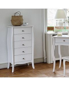 Steens Baroque Tall Narrow 5 Drawer Chest of Drawers in White at Price Crash Furniture. Matching items available. Also available in Grey or Black