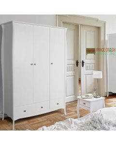 Steens Baroque 3 Door 2 Drawer Large Wardrobe in White at Price Crash Furniture. Matching items available. Also available in Grey or Black