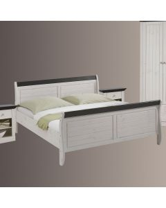 Steens Monaco SuperKing Bed in Whitewash & Dark Stain 180cm x 200cm at Price Crash Furniture. Matching items available.