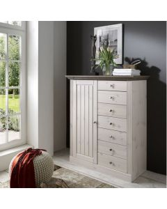 Steens Monaco 1 Door 7 Drawer Chest in Whitewash & Stone at Price Crash Furniture. Matching items available.