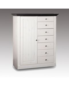 Steens Monaco 1 Door 7 Drawer Chest of Drawers in Whitewash & Dark at Price Crash Furniture. Matching items available.