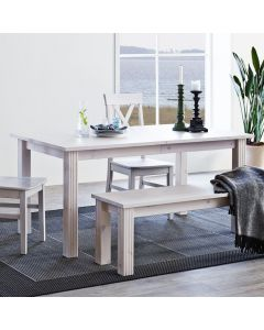Steens Monaco 160cm to 204cm Extending Dining Table in Whitewash at Price Crash Furniture. Matching items available.