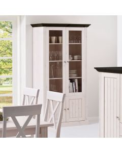 Steens Monaco 2+2 Tall Glazed Cabinet in Whitewash and Dark at Price Crash Furniture. Matching items available.