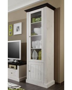 Steens Monaco 1+1 Door Narrow Glazed Display Unit in Whitewash & Dark at Price Crash Furniture. Matching items available.