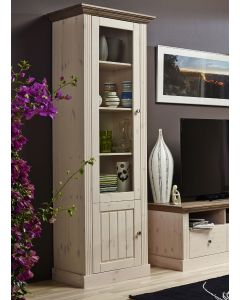 Steens Monaco 1+1 Door Narrow Glazed Display Unit in Whitewash & Stone at Price Crash Furniture. Matching items available.