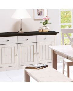 Steens Monaco 3 Door 3 Drawer Sideboard in Whitewash & Dark at Price Crash Furniture. Matching items available.