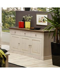 Steens Monaco 3 Door 3 Drawer Sideboard in Whitewash & Stone at Price Crash Furniture. Matching items available.