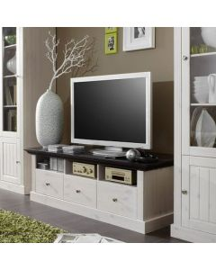 Steens Monaco 3 Drawer TV Stand in Whitewash & Dark at Price Crash Furniture. Matching items available.