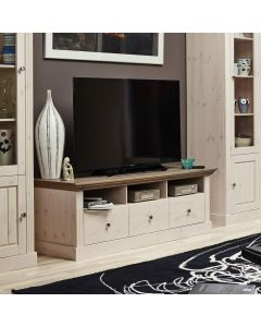 Steens Monaco 3 Drawer TV Stand in Whitewash & Stone at Price Crash Furniture. Matching items available.