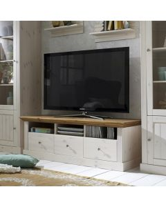 Steens Monaco 3 Drawer TV Stand in Whitewash & Provence at Price Crash Furniture. Matching items available.