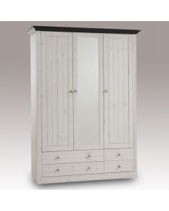 Steens Monaco 2+1 Mirror Door, 2+2 Drawer Wardrobe in Whitewash & Dark at Price Crash Furniture. Matching items available.