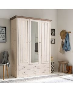Steens Monaco 2+1 Mirror Door, 2+2 Drawer Wardrobe in Whitewash & Stone Mushroom at Price Crash Furniture. Matching items available.