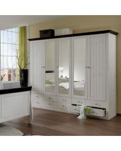 Steens Monaco 2+3 Mirrored Door, 4+2 Drawer Wardrobe in Whitewash & Dark at Price Crash Furniture. Matching items available.