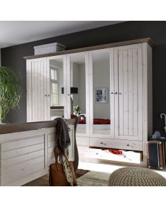 Steens Monaco 2+3 Mirrored Door, 4+2 Drawer Wardrobe in Whitewash & Stone at Price Crash Furniture. Matching items available.