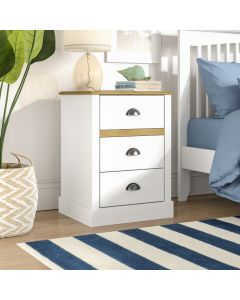 Steens Sandringham 3 Drawer Bedside Table in White & Pine at Price Crash Furniture. Matching items available. Also available in Grey & Pine.