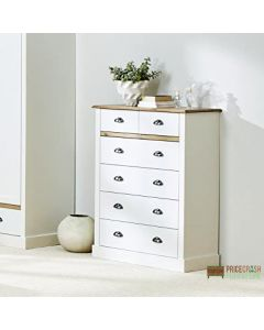 Steens Sandringham 2+4 Drawer Chest Of Drawers in White at Price Crash Furniture. Matching items available. Also available in Grey.