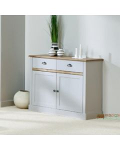 Steens Sandringham 2 Door 2 Drawer Compact Sideboard in Grey at Price Crash Furniture. Matching items available. Also available in white.