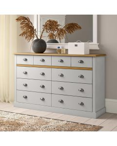 Steens Sandringham 4+6 Drawer Chest Of Drawers in Grey & Pine at Price Crash Furniture. Matching items available. Also available in White & Pine.