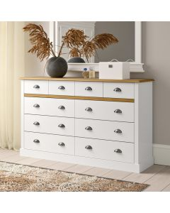 Steens Sandringham 4+6 Drawer Chest Of Drawers in White & Pine at Price Crash Furniture. Matching items available. Also available in Grey & Pine.