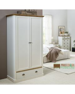 Steens Sandringham 2 Door 1 Drawer Wardrobe in White & Pine at Price Crash Furniture. Matching items available. Also available in Grey & Pine.