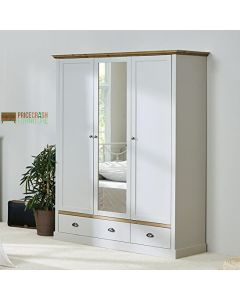 Steens Sandringham 3 Door 2 Door Mirrored Wardrobe in Grey & Pine at Price Crash Furniture. Matching items available. Also available in White & Pine.