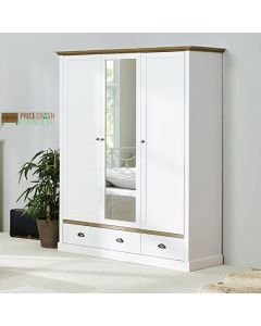 Steens Sandringham 3 Door 2 Door Mirrored Wardrobe in White & Pine at Price Crash Furniture. Matching items available. Also available in Grey & Pine.