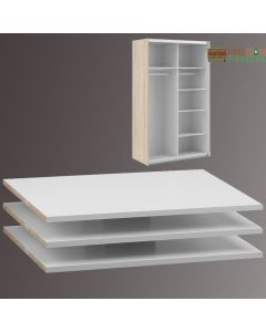 Verona Set of 3 Extra Shelves - Narrow (for 120cm wardrobe) in White at Price Crash Furniture. Other sizes & colours available