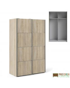 Verona Sliding Wardrobe 120cm in Oak with Oak Doors with 2 Shelves at Price Crash Furniture. Other sizes & colours available