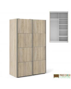 Verona Sliding Wardrobe 120cm in Oak with Oak Doors with 5 Shelves. Other colours & sizes also available