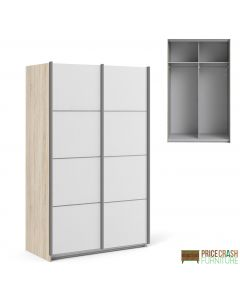 Verona Sliding Wardrobe 120cm in Oak with White Doors with 2 Shelves at Price Crash Furniture. Other sizes & colours also available