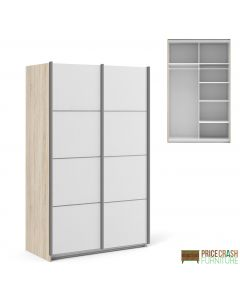 Verona Sliding Wardrobe 120cm in Oak with White Doors with 5 Shelves at Price Crash Furniture. Other sized and colours also available