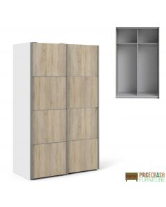 Verona Sliding Wardrobe 120cm in White with Oak Doors with 2 Shelves at Price Crash Furniture. Other sizes and colours also available
